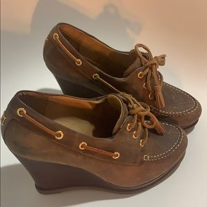 SPERRY TOPSIDE Wedges. Brown leather. Size 8. Used